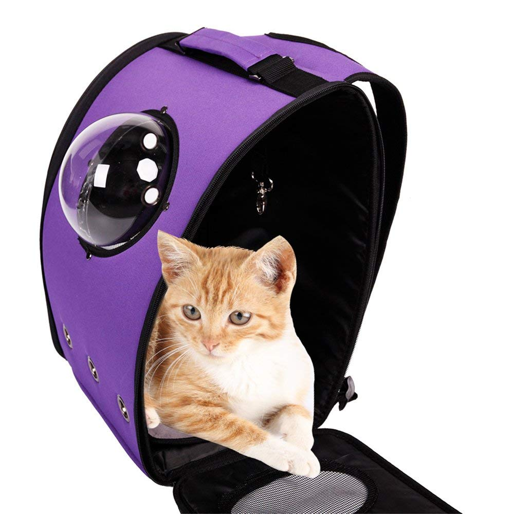 319a63fefc71 Amazon.com   BOSON Pet Carrier Backpack Traveler Bubble Breathable Outdoor Travel  Bag for Small Cat Dog Puppy Kitten (Purple)   Pet Supplies