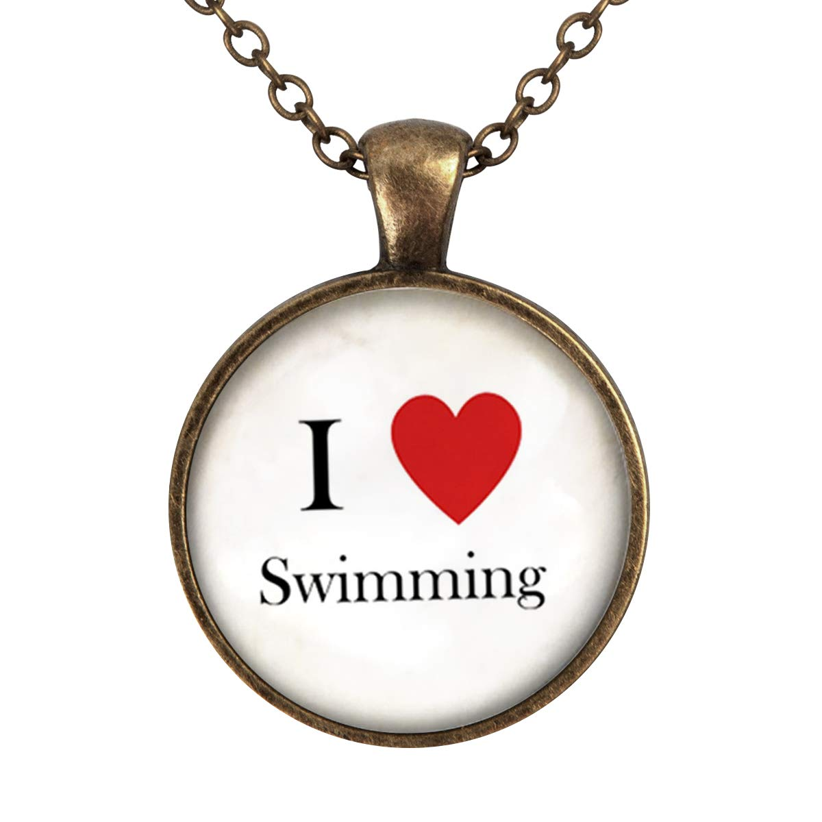 Family Decor I Love Swimming Custom Pendant Necklace Cabochon Glass Vintage Bronze Chain Necklace Jewelry Handmade