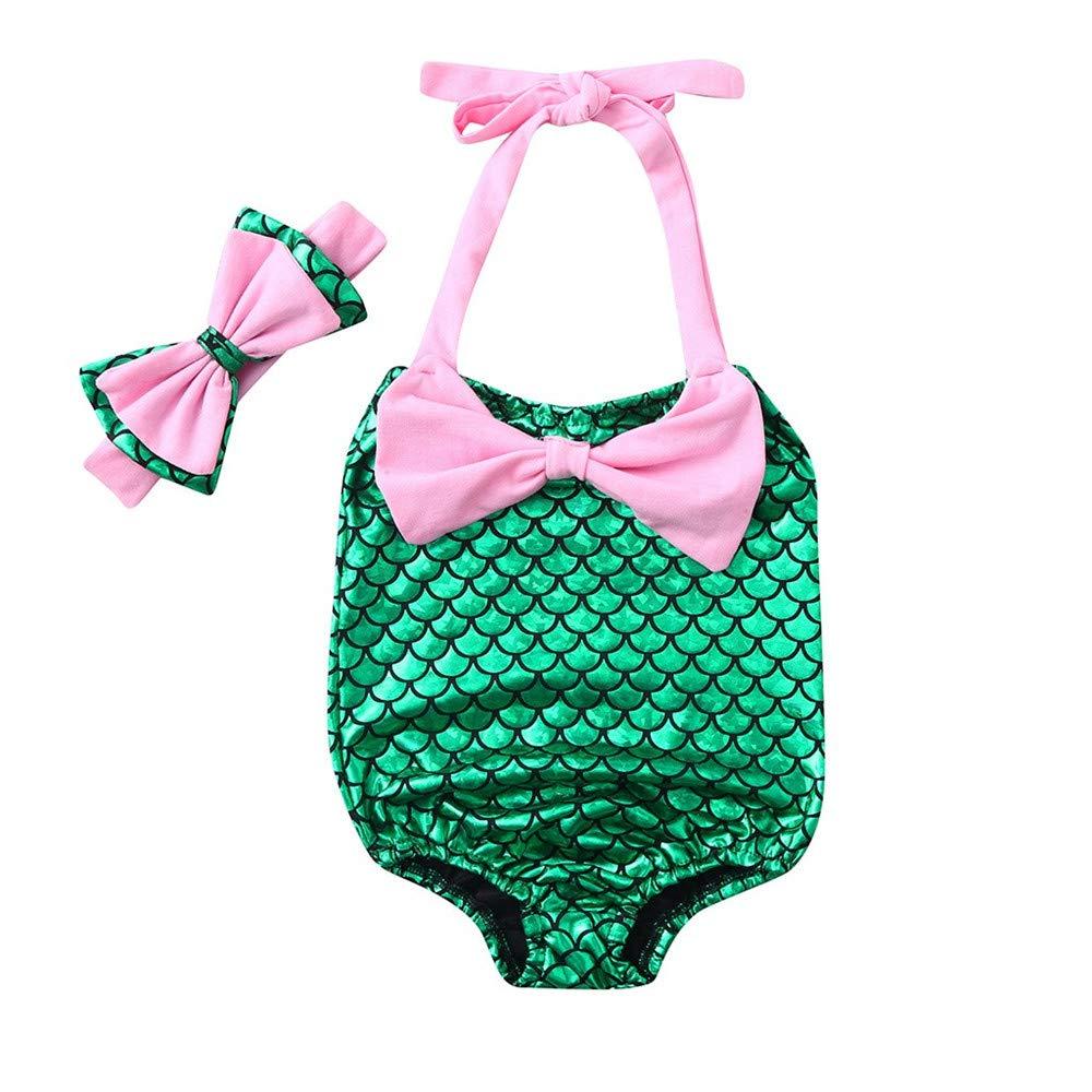 Kids Sling Bow Print Swimsuit Hair Band Two-Piece Suits wodceeke Girls Bikini Beachwear