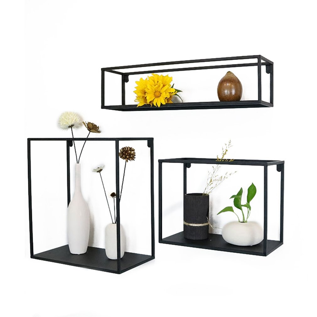 YY Möbel Modernes Schmiedeeisen-Wandregal, 3-Teiliges Satz-Wohnzimmer-Schlafzimmer-Hintergrund-Wand-Dekorations-Rahmen, Kreatives Schott Shanhua-Regal-Regal-Küchen-Speicher-Regal-Schwarzes