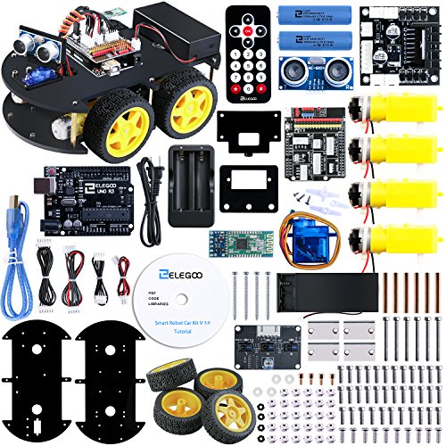ELEGOO UNO R3 Project Smart Robot Car Kit V 3.0 with UNO R3, Line Tracking Module, Ultrasonic Sensor, IR Remote Control Module etc. Intelligent and Educational Toy Car Robotic Kit for Arduino Learner (Best Arduino Robot Kit)