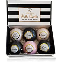 Luxurico Bath Bombs Gift Set 6 Natural Fizzies, Shea Butter & Lavender Dry Skin Moisturize, Perfect for Bubble & Spa…