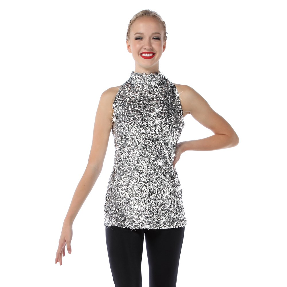 Sequin Dance Costume Tank | Just for Kix | Dance Top for Girls Silver by Alexandra Collection