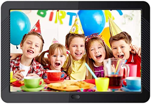 Digital Picture Frame 10inch 1280 x 800 IPS Display Digital Photo Frame Video Player Slideshow Background Music Calendar Timer Auto On Off with Remote Control Black