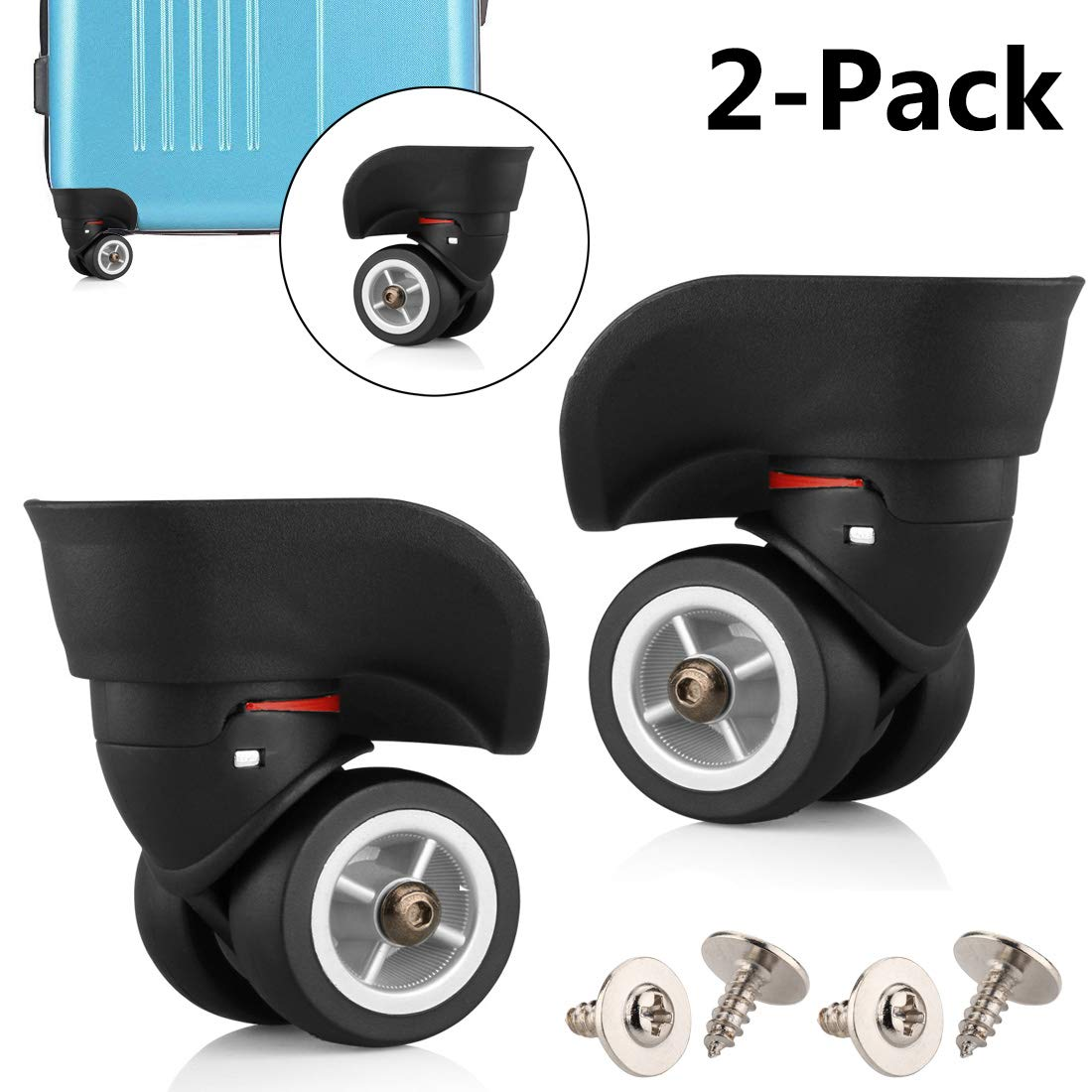 TuhooMall Luggage Wheels Replacement, 360 Degree Swivel Caster Wheel Outdoor Luggage Travel Suitcase Replacement Wheel for Luggage Suitcase Trolley(1 Pair) by TuhooMall