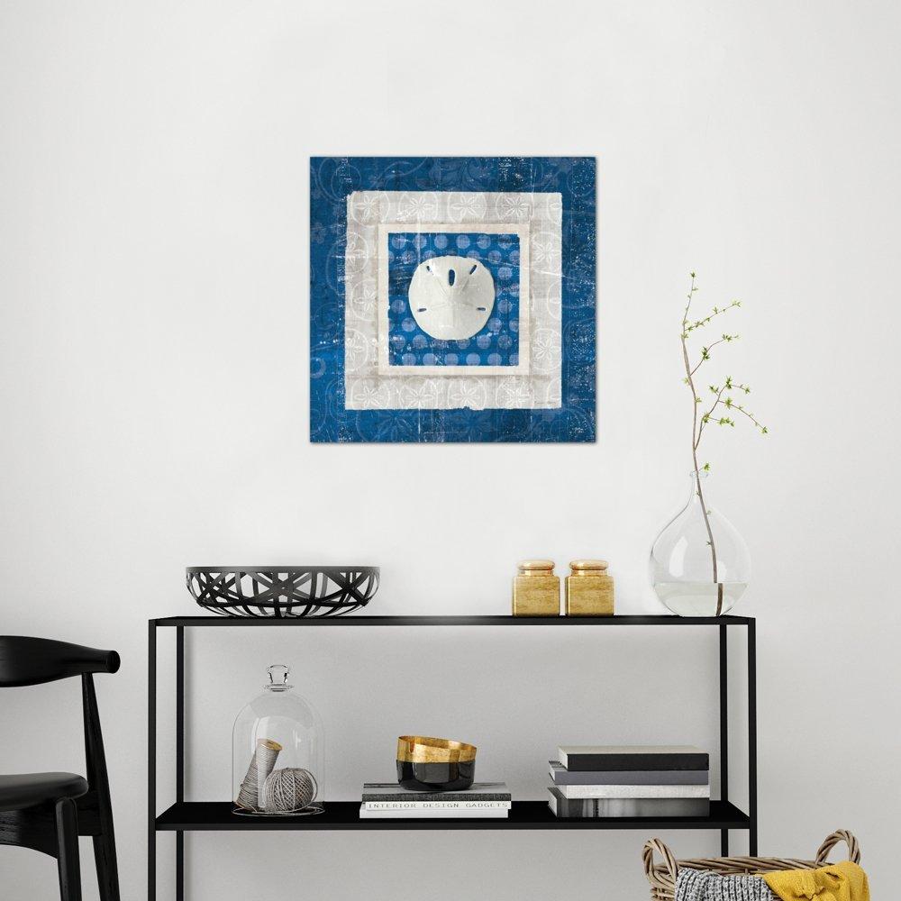 iCanvasART Sea Shell I on Blue Canvas Print 37 x 37