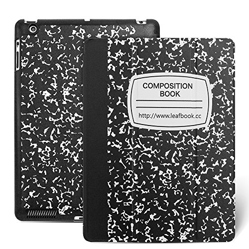 Apple iPad 2/3/4 Case - iPad Case 4th Generation, Leafbook Stand Smart iPad Case for iPad 2 (iPad 4th Generation Case), New iPad 3 Cover & iPad 2 Cover(Automatic Wake/Sleep Feature),Composition Book
