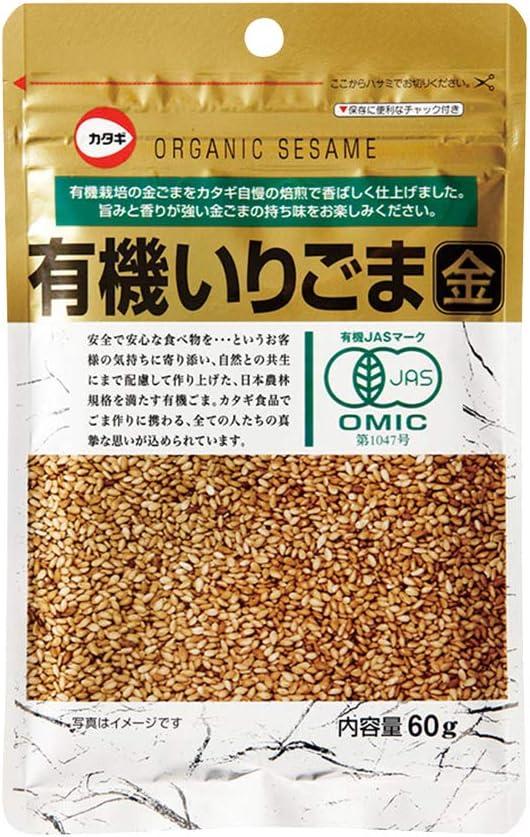 カタギ食品  有機いりごま(金) 60g  12袋