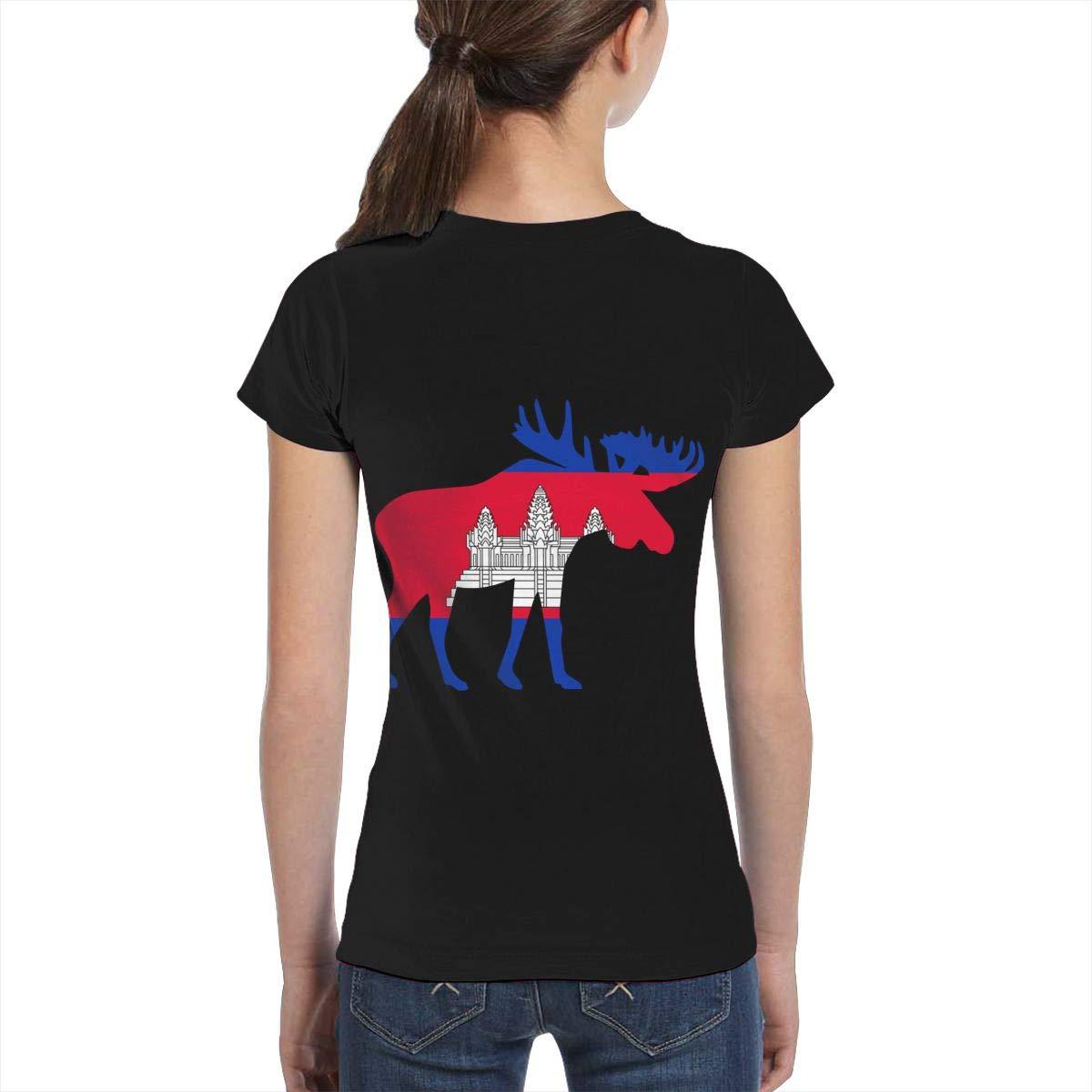 Fashion Tunic Shirt Dress L6Nv4o@A Girls Short Sleeve Cambodia Moose Shirts XS-XL
