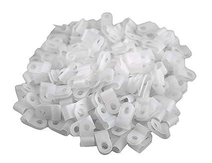 Amazon.com: XLX 200pcs White Nylon R-Type Cable Clamp Fastener for 1 ...