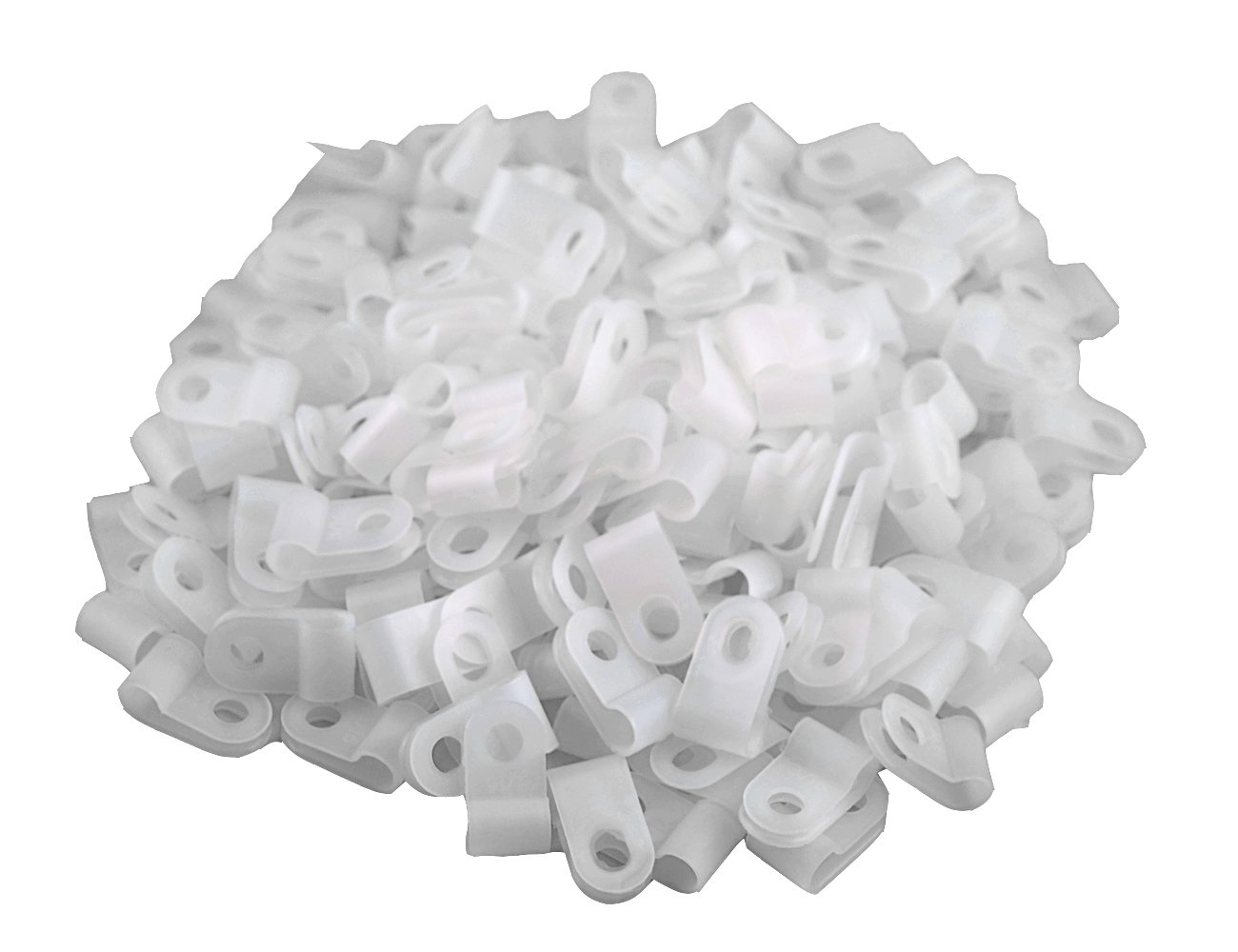 XLX 200pcs White Nylon R-Type Cable Clamp Fastener for 1/8 Inch (3.2mm) Dia Wire Tube ( Plastic Wire Cord Clip Fixer )