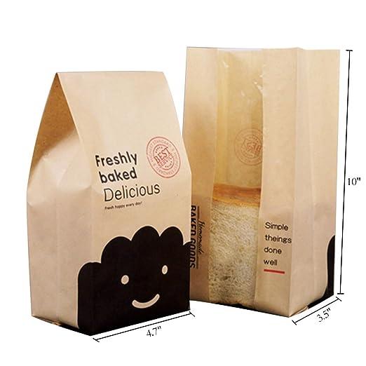 Ruihome - Bolsas de papel para pan, diseño de pan, 50 ...