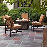 Hampton Bay Niles Park 5-Piece Gas Fire Pit Patio Seating Set with Cashew Cushions