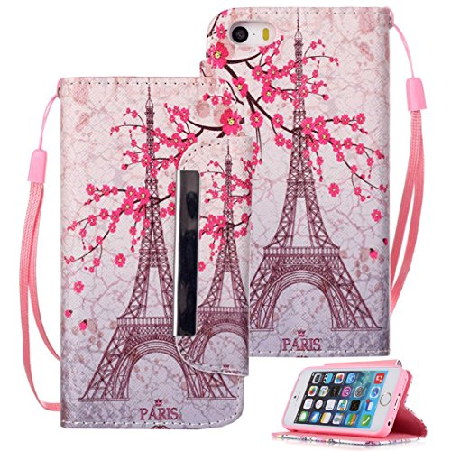 iPhone SE Case, iPhone 5s Case, iPhone 5s Wallet Case, Etubby [Wallet Stand] New PU Leather Wallet Flip Protective Case with Card Slots and Wrist Strap for Apple iPhone SE & iPhone 5 5s - Paris