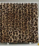 Bathroom Accessories Leopard Print Sexy Shower Curtain by Ambesonne, Nearly Natural Wildlife Safari Decorations Big Cat Theme Fur Skin Animal Print Black Brown Beige Pattern Home Fabric Bath Decor Art