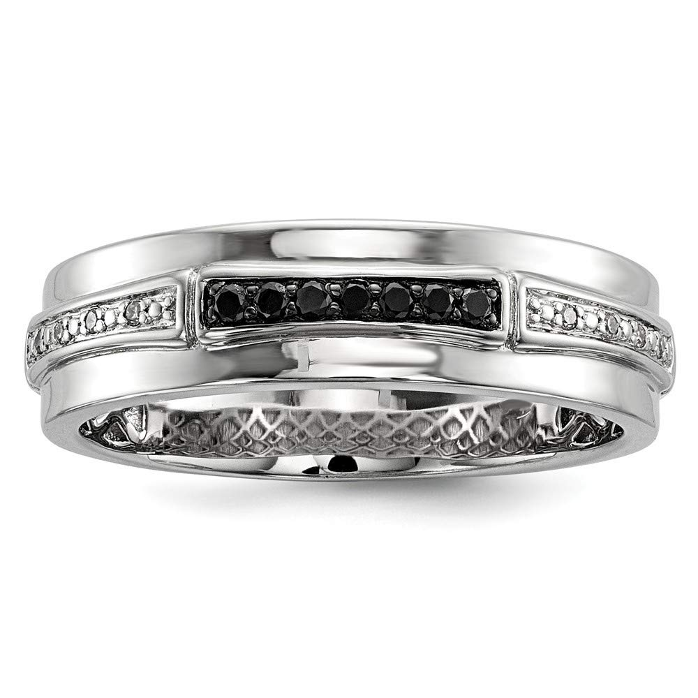 925 Sterling Silver Polished Prong set Gift Boxed Rhodium-plated White and Black Diamond Mens Ring Size 10