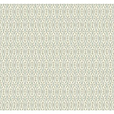York Wallcoverings EB2042 Carey Lind Vibe Aztec Wallpaper, White/Chambray Blue/Silver