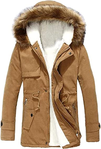 Comaba Men Fur Collar Thickened Fleece Brumal Warm Hooded Patched Jacket