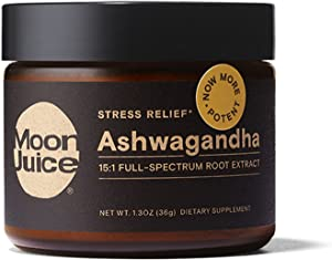 Moon Juice - Ashwagandha - Organic Ashwagandha Root Powder Extract Supplement (15:1 Extract) - Natural Stress Relief, Focus Support & Mood Support - Vegan, Non-GMO, Gluten-Free (72 Servings)