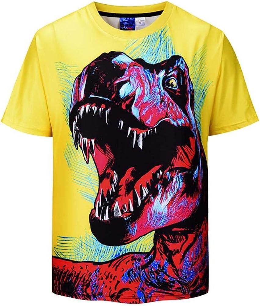 Moda Verano Nueva Pareja Camisa de impresión 3D Dinosaurio Camiseta de los Hombres Sueltos Amarillo de Manga Corta Camiseta: Amazon.es: Ropa y accesorios