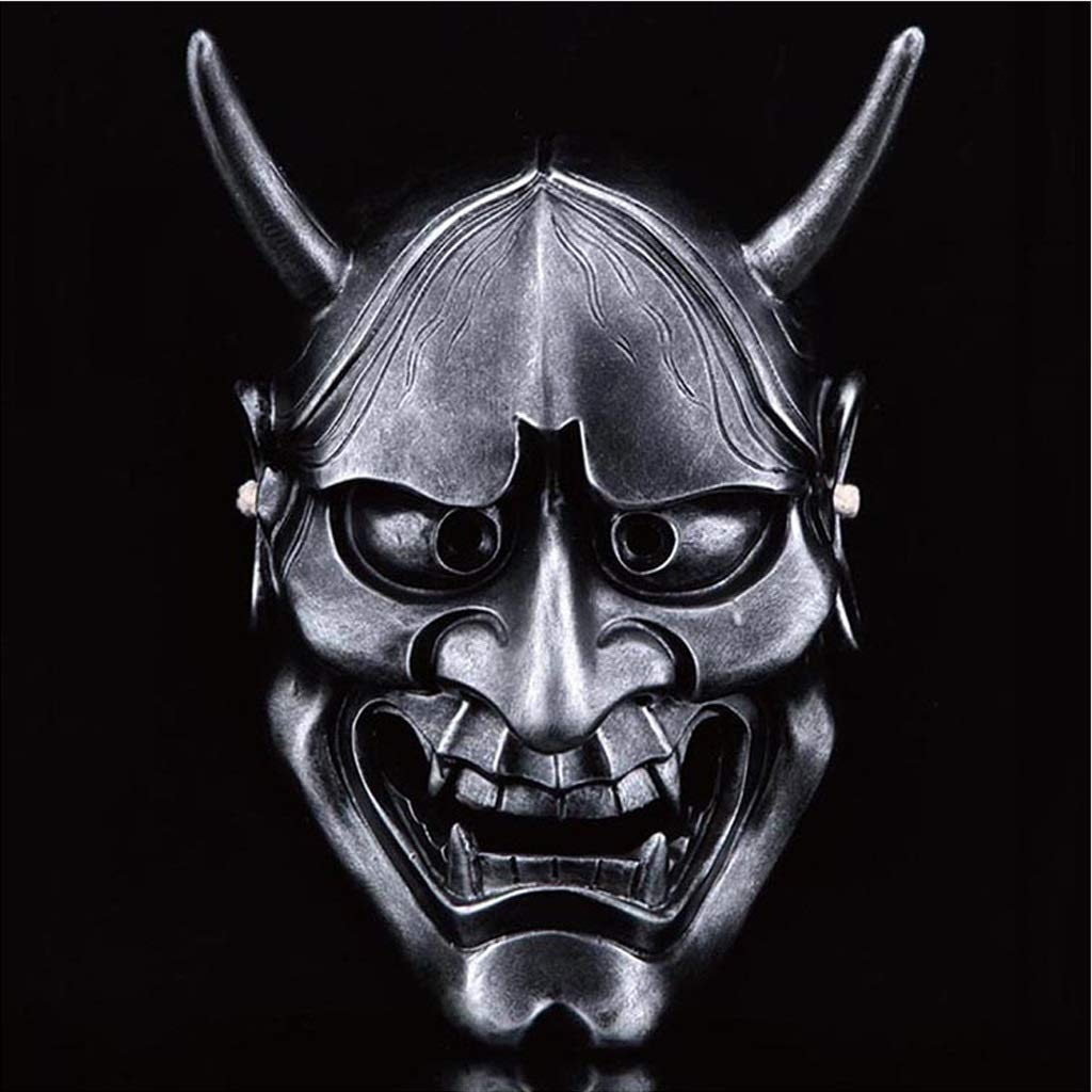 Jdskk Disfraz de Halloween Horror, Fantasma Cabeza Máscara Cosplay Samurai Props Gifts Unisex - Adulto, Talla única (Color : La Plata)