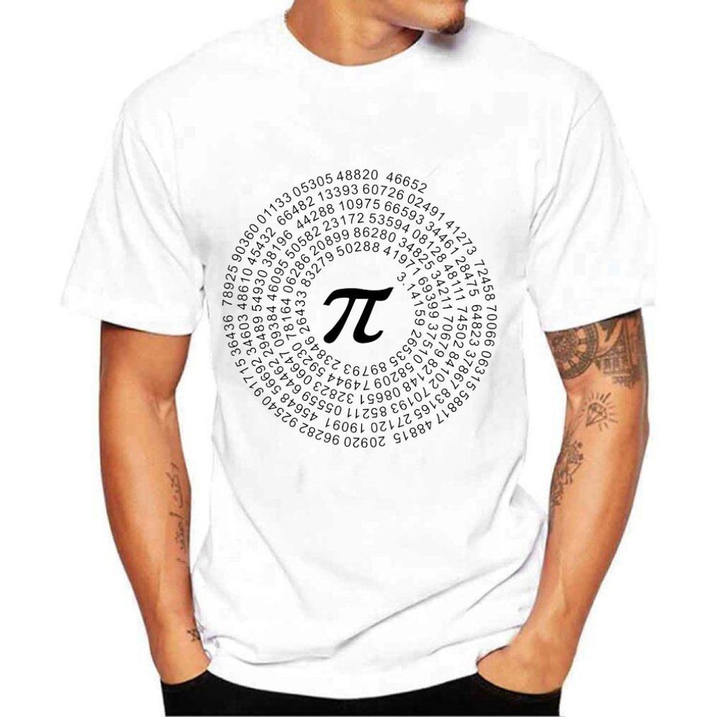 Realdo Men's Casual T-Shirt, Fashion Short Sleeve Crewneck Pai 3.14159 Print Top Tee