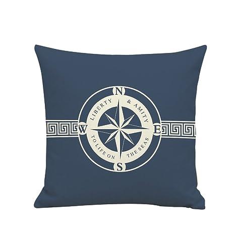 BIGBOBA. Lino sofá cojín patrón de Funda de Barco Pirata Suave Decorativo Sofá Almohada Azul patrón de Color Blanco de Onda Wave Funda de cojín 45 * ...