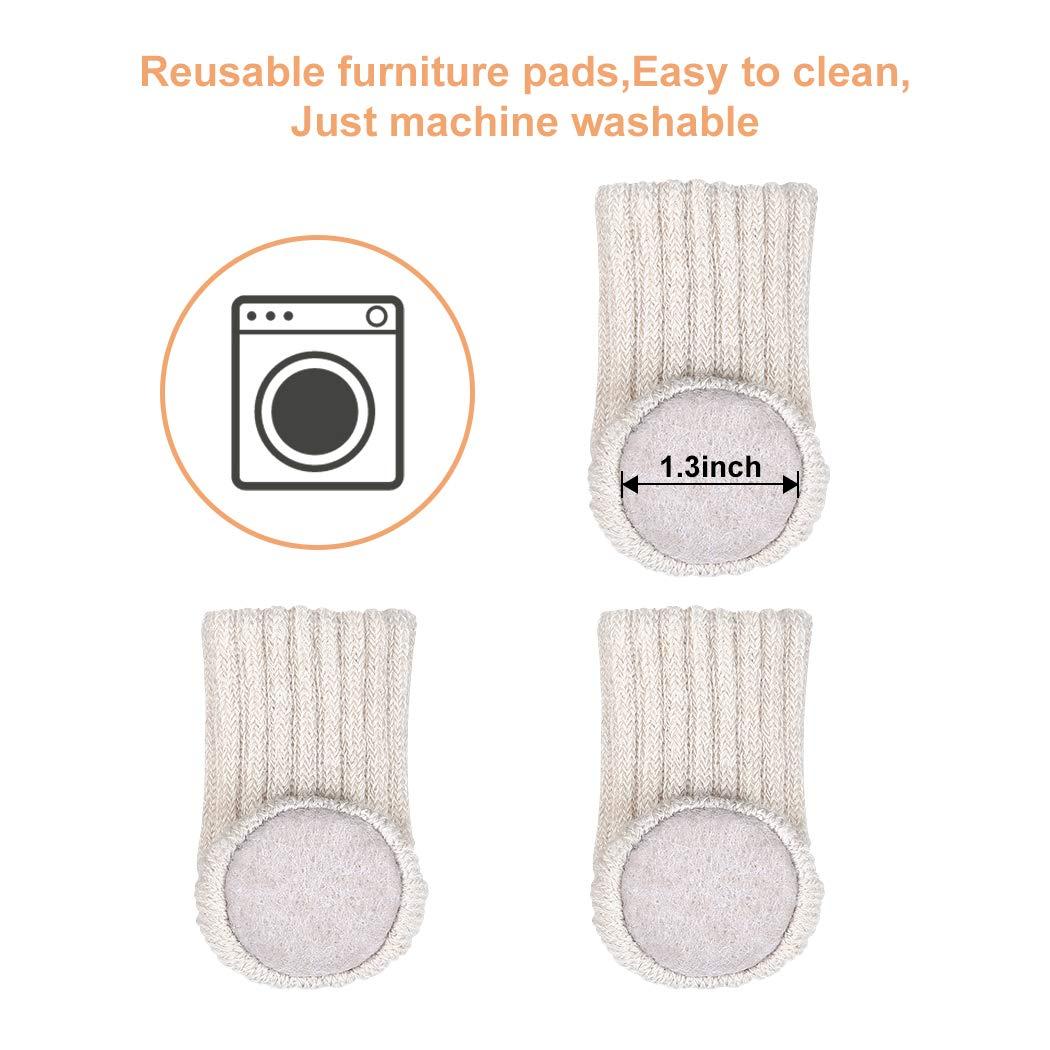 fundas para patas de gato de punto Color beige protectores de suelo antideslizantes 24 piezas para patas de muebles Ezprotekt Calcetines para silla