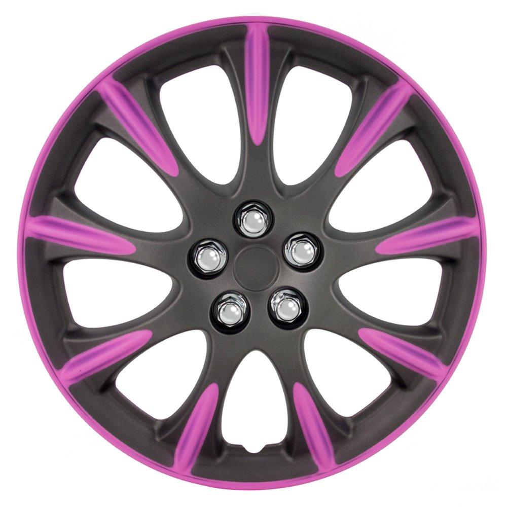 Satz Radzierblenden Delaware 14-Zoll Matt-Gunmetal/Pink AutoStyle KT953-14MGM/PNK