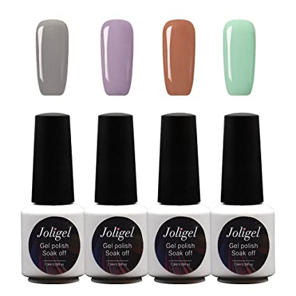 Joligel Kit 4x Esmaltes Semipermanentes Shellac para Uñas de Gel Set Pintauñas Permanentes Manicura Pedicura UV