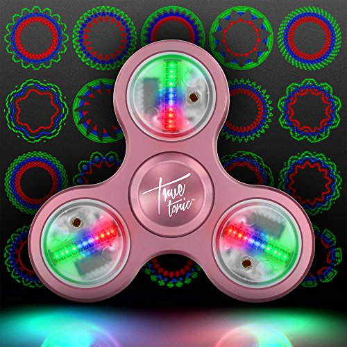 The Original Fidget Aluminate: The LED Light Up Fidget Aluminum Pattern Spinner w/ On/Off Switch + 20 Pattern Modes + Large Batteries for Maximum Brightness - Aluminum Case Included (Rose Gold)