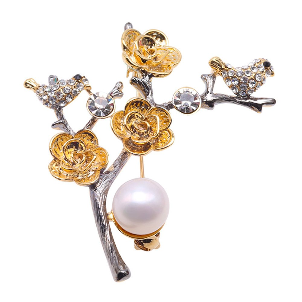 JYX Exquisite 10mm Natural Freshwater Pearl Bouquet Brooch