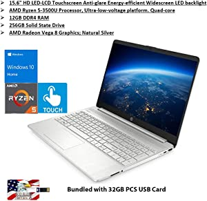 "2020 HP Pavilion 15.6"" Touchscreen Laptop AMD Ryzen 5 Processor 12GB RAM 256GB PCIe SSD HD Webcam HDMI AMD Radeon Vega 8 Graphics Win 10S Natural Silver Bundled with 32GB PCS USB Card"