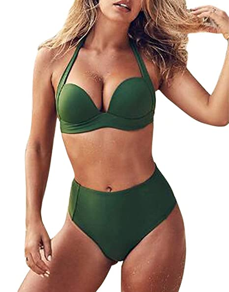 d406c7d6b2f Amazon.com: Bikini Swimsuit for Women Halter Bikini Sets Cross Two Piece  Swimsuit Wrap Bathing Suits High Waist Swimwear: Clothing