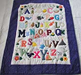 Hawaiian Style Quilt ABC baby blanket wall hanging, Hand Quilted and Machine Appliqued