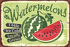 Keviewly Watermelon Organic Locally Grown Wall Tin Sign Retro Iron Painting Metal Plaque Sheet for Cafe Bar Garage Home