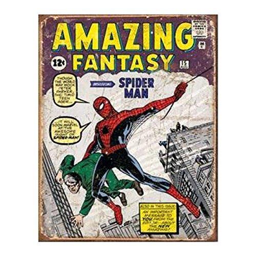 Amazing Fantasy Spiderman Retro Tin Sign by Desperate Emterprise