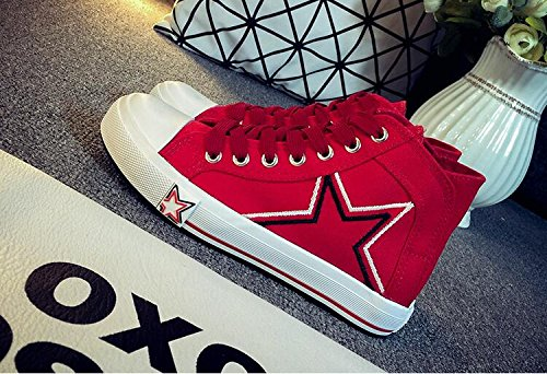 Summerwhisper Womens Trendy Star Print High Top Flats Plimsolls Canvas Shoes Lace-up Skate Sneakers Red lHnoM8mlD