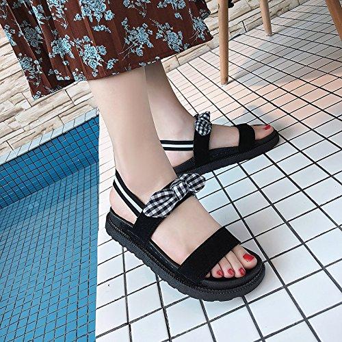 Libre Antideslizante Viaje de Casual Moda Calzado Sandalias pies de Verano al Señoras YMFIE a Aire Pajarita Playa los de BqCCPw