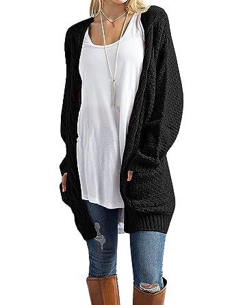 aa524c2f2a15 Xiakolaka Women s Long Sleeve Chunky Sweater Open Front Cable Knit  Cardigans Black S