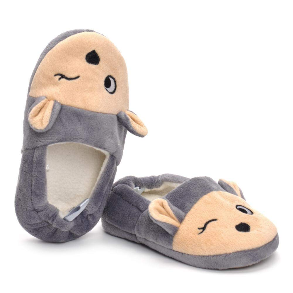 Age:3.5-4.4Years, Brown Boys Girls Plush Warm Cute Animal House Slippers Fuzzy Indoor Bedroom Shoes for Toddler Kids