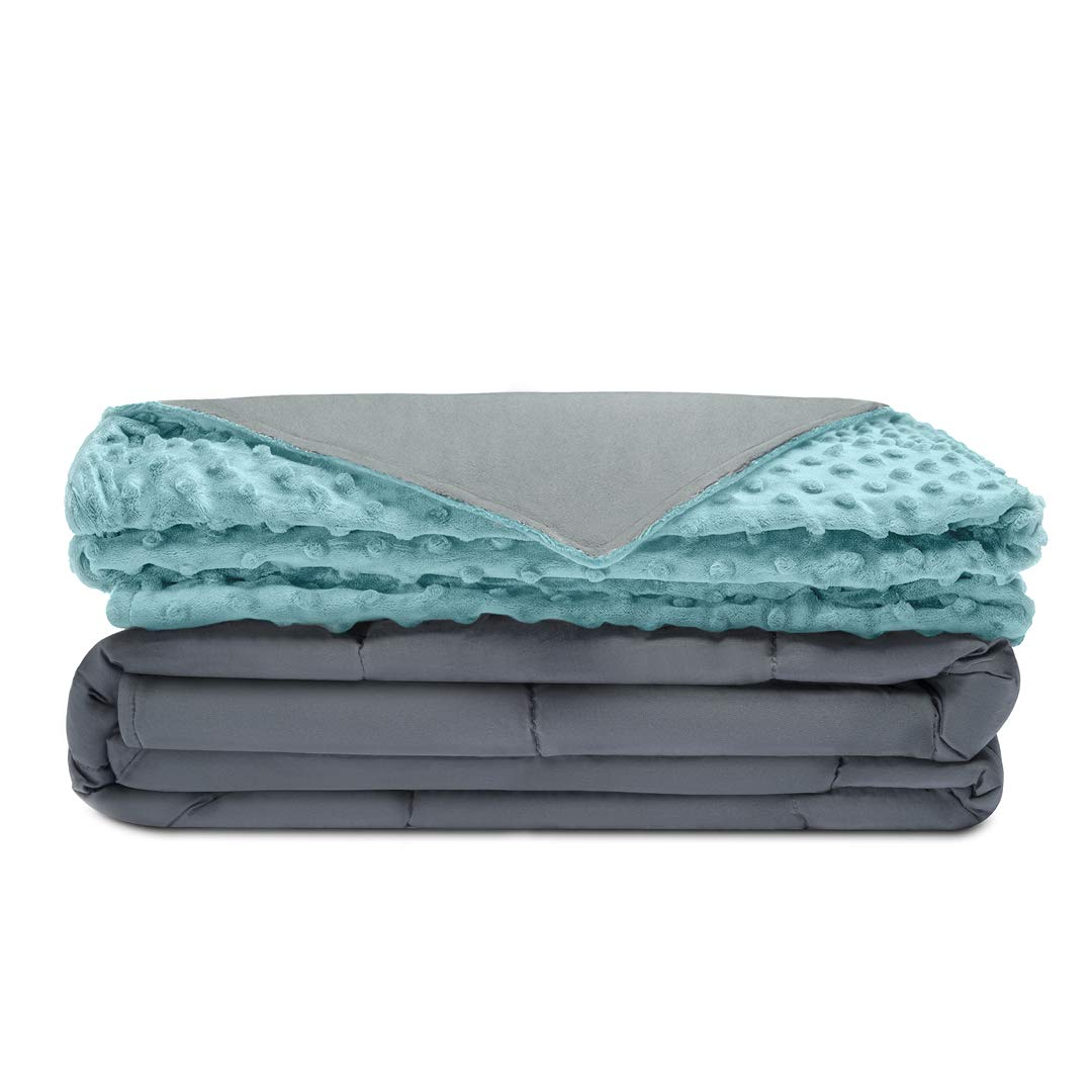Quility Premium Kids Weighted Blanket & Removable Cover | 10 lbs | 41''x60'' | for a Child Between 90-120 lbs | Single Size Bed | Premium Glass Beads | Cotton/Minky | Grey/Aqua Color