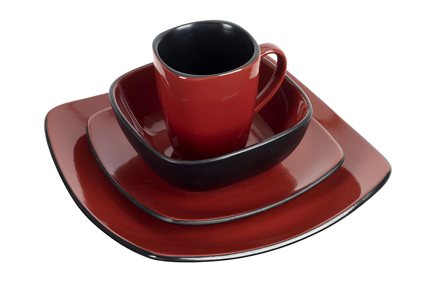 Ethos square dinner set red black 16 piece in colour box amazon co uk kitchen home