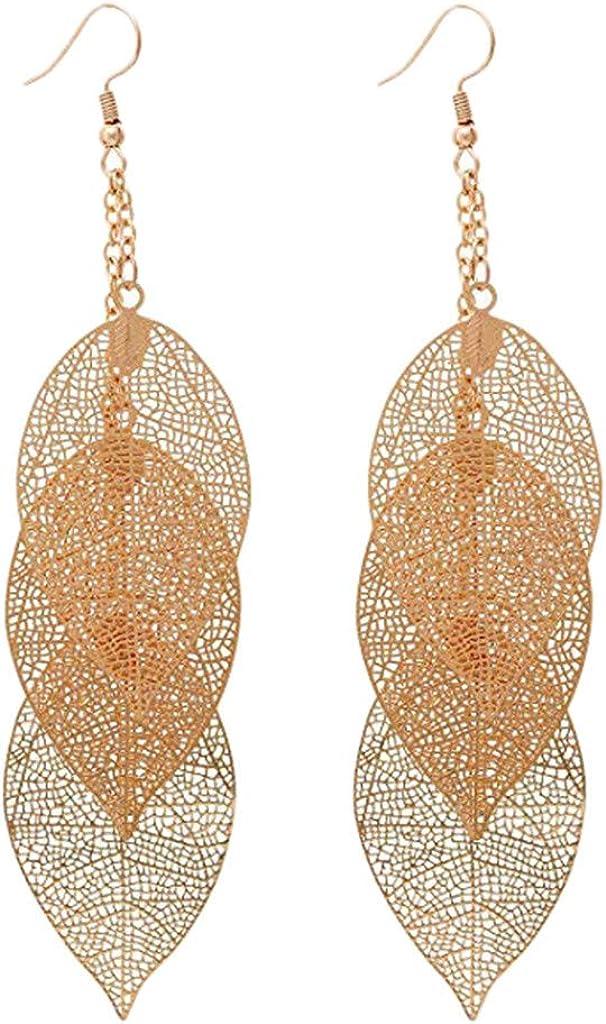 Cute Earrings for Women/&Girls Fashion Handmade Lightweight Ear Stud Leaf Hollow Eardrop Dangle Jewelry