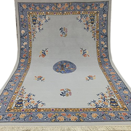 Art Rug Chinese Deco - Yilong 6'x9' Vintage Hand Knotted Chinese Art Deco Wool Rugs Oriental Carpet