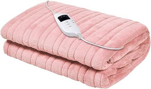 Giselle Bedding Electric Heated Throw Rug Fleece Washable Snuggle Blanket Pink