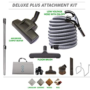 Central Vacuum Carpet Attachment Cleaing Tool Kit - Air-Driven Carpet Brush - Multi Brush Set - 30ft Central Vac Dual Votage Switch Control Hose