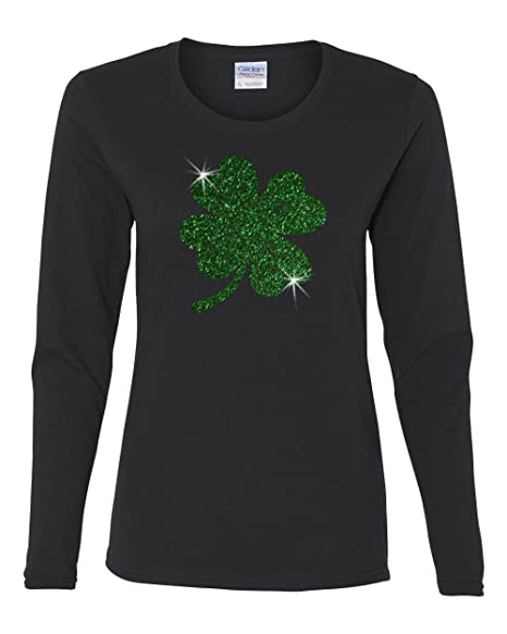 bf3819a5 Custom Apparel R Us ST. Patricks Day Green Glitter Lucky Clover Ladies'  Long-Sleeve Shirt at Amazon Women's Clothing store: