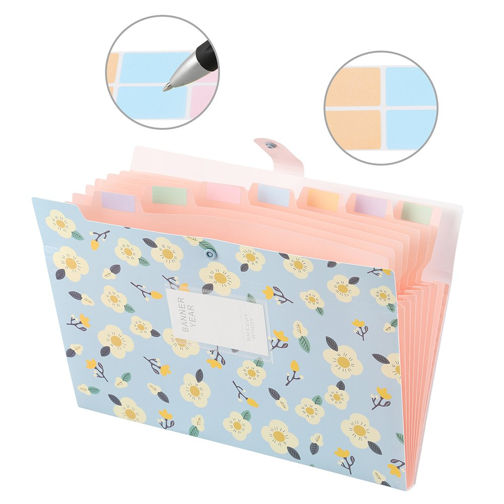 2-Pack File Folders Organizer, Sooez 8-Pockets Accordion Expanding Paper A4 Letter Size Document File Folder Organizer with Snap Closure and Colored Labels for School College Office and Home by Sooez (Image #4)