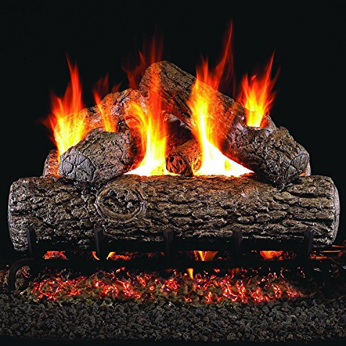 Golden Oak Remote - Peterson Real Fyre 18-inch Golden Oak Log Set Vented Natural Gas ANSI Certified G46 Burner - Variable Flame Remote